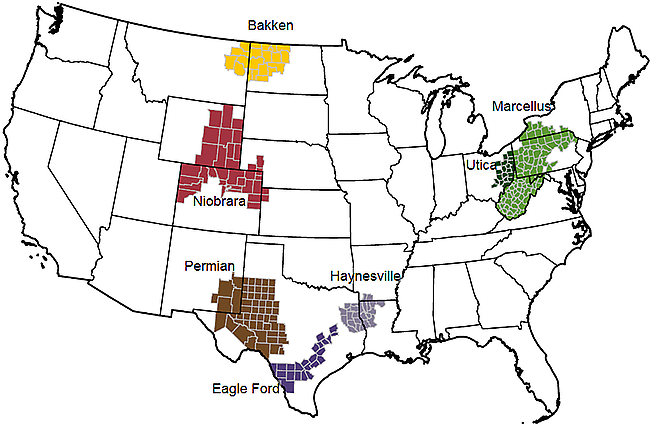 Five Main Unconventional Shale Gas Plays in the U.S.